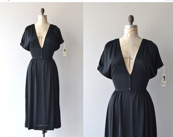 25% OFF.... Mr. Blackwell dress | black jersey 70s dress | vintage 1970s dress