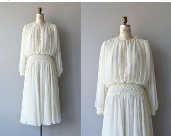 25% OFF.... Aline Marelle dress    vintage 1980s chiffon dress   cream 80s designer dress
