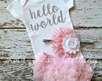 Baby Girl Take Home Outfit Newborn Baby Girl Hello World Bodysuit Pink Bloomers Pink & Silver White Headband Set