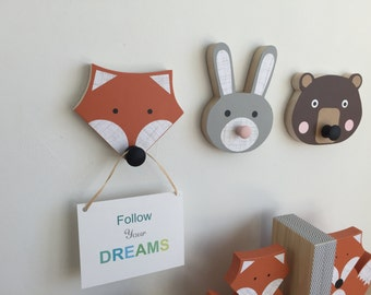 Animal Wall Hooks, Bunny, Fox, Bear, Animal Nursery Decor, Faux Taxidermy, Woodland Themed Nursery, Forest Animal Kids Decor