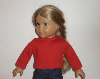 18 inch Doll T Shirt, Long Sleeve Blouse, Red TShirt, Cotton Tee,  American Made,  Girl Doll Clothes