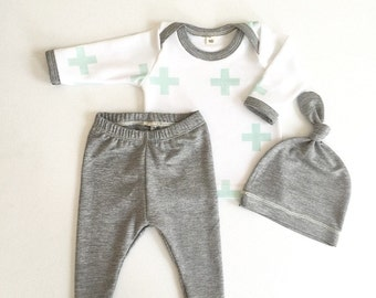 Newborn Baby Boy Coming Home Outfit, Boys Clothing, Pants Shirt with Matching Hat