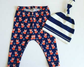 Newborn Baby Boy Coming Home Outfit, Boys Clothing, Pants with Matching Hat, Stripe, Fox, Woodland, Nature