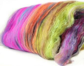 Techno 2.6 oz  Wool - Merino- Art Batt // Wool Art Batt for spinning or felting NO SPARKLE