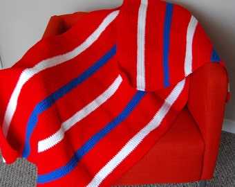 Vintage Red White & Blue Afghan / Throw / Cover