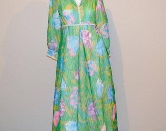 Vintage Chiffon Green Print Dress