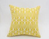 Trellis Pillow Cover, Yellow Gray Toss Pillow, Yellow Linen Gray Silver Trellis embroidery, Contemporary pillow, modern decor, Square pillow