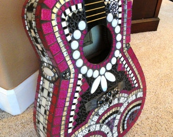 Hot Pink Fuschia Black Mosaic Guitar/Mosaic/One of a Kind Custom/Art//Mosaic Art//Home Decor//Wall Decor//Mixed Media Art//One of a Kind Art