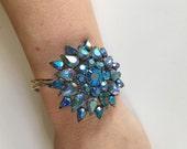 Brilliant Blue AB Rhinestone Sunburst Cuff Bracelet-Heirloom Collection