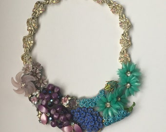Colorful Garden Party Statement Necklace in Puple, Blue, & Aqua - Heirloom Collection