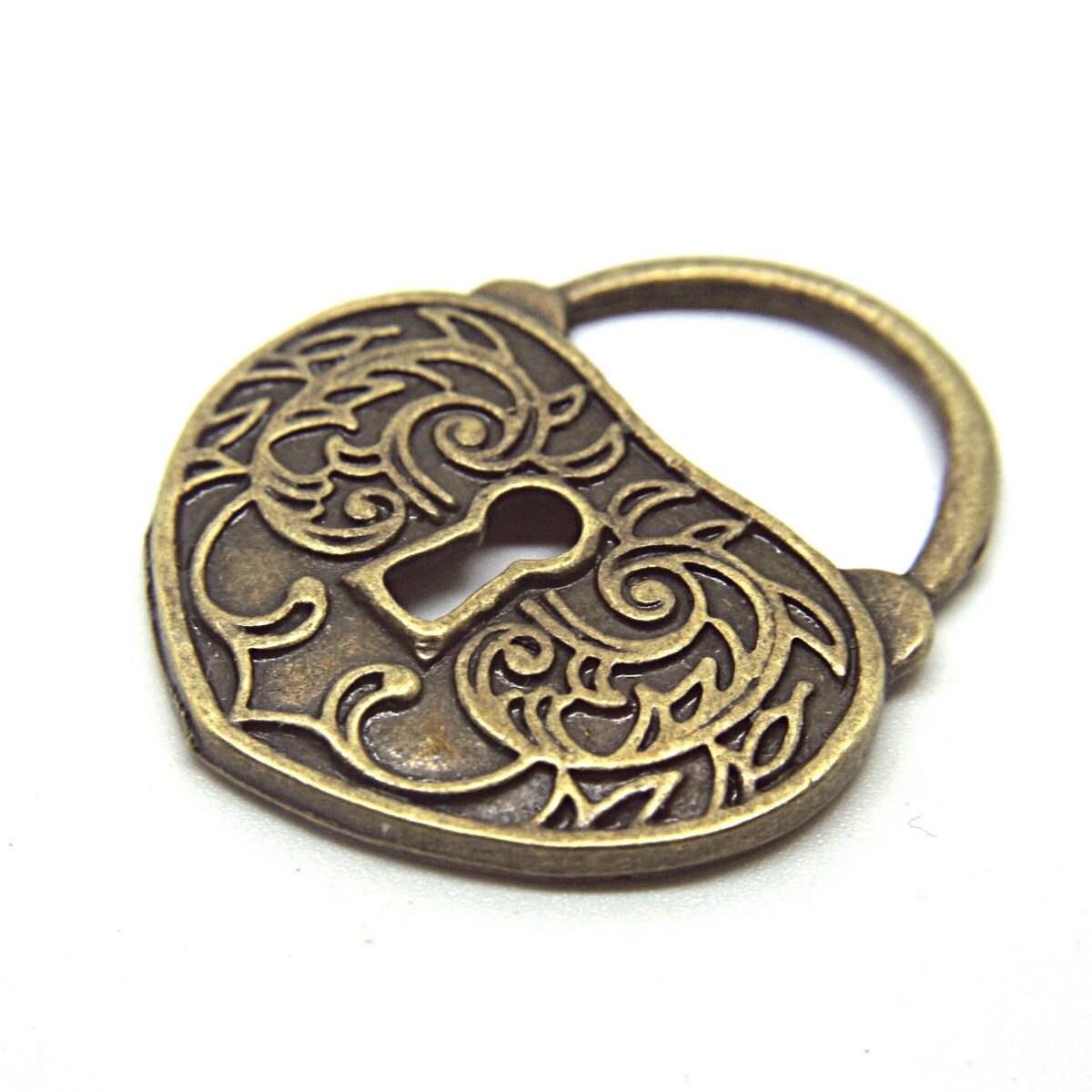 Antique Gold Heart Key Hole Pendant Charm Component