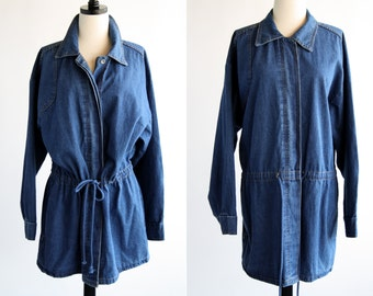 Avon Brand Denim Long Sleeve Gathered Waist Avon Brandon Woman's Vintage Jean Jacket