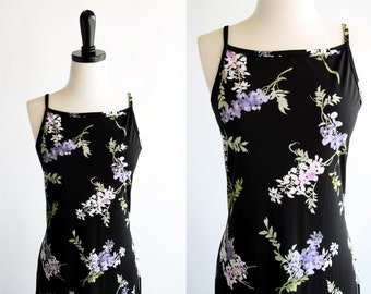 Byer California Polyester Slinky Black and Purple Tones Floral Print Vintage Woman's Maxi Dress