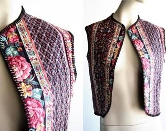 70's Vintage Floral Print Woman's Vest