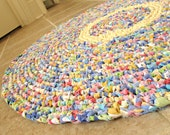 "Eco round rag rug, colorful, blue, red, orange, green, multi, 30""."