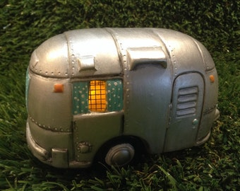 Camper  Fairy  House Ceramic Airstream  Silver Rv      Lighted Nightlight fantasy fairy room decor
