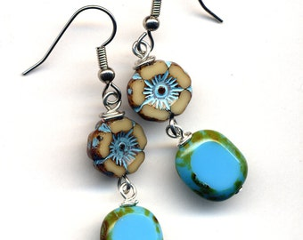 Turquoise Earrings, Surgical Steel Earrings, Floral Earrings, Long Earrings, Beige and Blue Earrings, Czech Glass Earrings, Turquoise Green