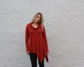 Flow Cowl Long Sleeve Top - Deep Red