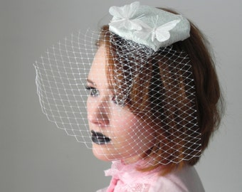 Mint Lace Butterfly Fascinator Veil Hat