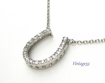 Sterling Horse shoe necklace cubic zirconia