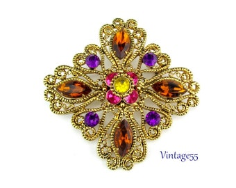 Brooch Rhinestone Scrolled Filigree Gold tone
