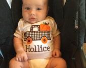 Fall gingham plaid pumpkin truck shirt with personalization