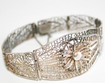 Silver Filigree Flower Bracelet AS IS