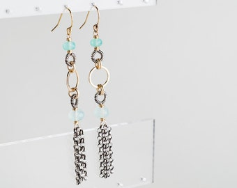 Giselle Earrings: Long Tassel Dangles w/ AAA Aqua Chalcedony, Silver, Gold, Long, Forged, Drop, Simple, Modern, Blue, Two toned, Oxidized
