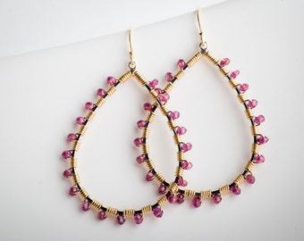 Dana: Large Spiny Hoop Drop Earrings in Gold w/ Garnet, AAA Gemstone, Red, Pink, Wrapped, Coiled, Big, Hoops, Dangle