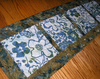 Quilted Table Runner, Blue and Green Batik Runner,  12 1/2 x 39 inches