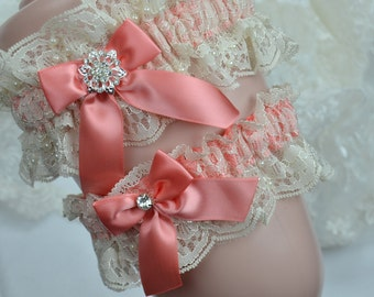 Coral Garter Set, Wedding Garter,Bridal Garter, Lace Garter Set,Garter, Heirloom Garter