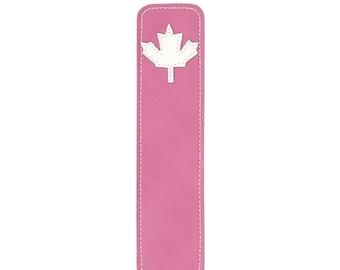 20% off sale Mally Designs Leather Bookmark, Maple Leaf on Bubblegum Pink