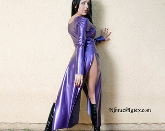 LATEX Classic Catwoman Dress, made to order, great for cosplay.  Has long slits up the sides and long sleeves.