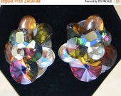 On Sale Pretty Vintage Multi Colored Acrylic Earrings