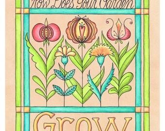 Historic Grow Fraktur Encourage Garden Watercolor Print 8 x 10