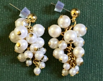 Vintage Pearl Cluster Earrings Grape Cluster White Gold tone Pierced