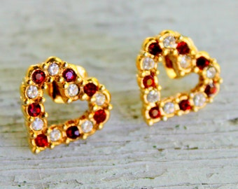 AVON Earrings Heart Rhinestone Red Gold Tone Vintage Signed