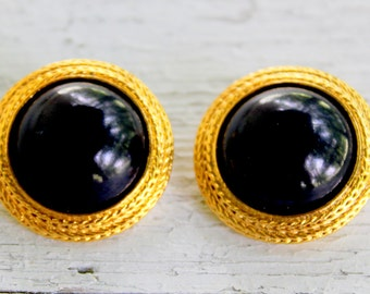 Liz Claiborne Earrings Signed Black Gold Tone Clip On Vintage