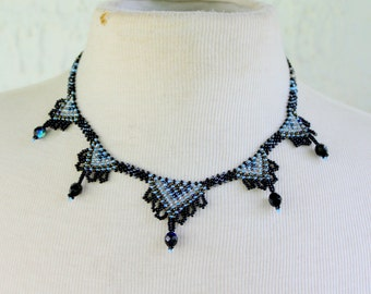 Bead Work Necklace Hand Beaded Black Silver