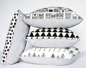 Black and White Pillow Housewarming Gift for New Homeowners House Pattern Graphic Print Square Accent Square Printed by Earth Cadets