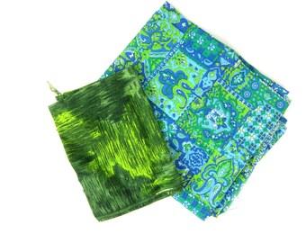 Vintage floral Shabby Chic fabric pieces vintage Folk Art charms starter fabric destash scraps remnants Green and Blue 1950s