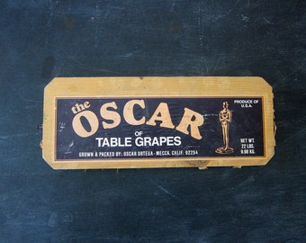 vintage Oscar Table Grapes Advertising old primitive wooden crate panel wall hanging Wood Crate End Paper Ephemera Kitchen Decor