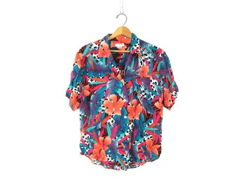 Tropical Floral Print Graphic Shirt 80s Button Up tee Vintage Bright rayon Short Sleeve Blouse Retro Beach Shirt Women's size Large