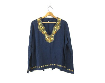 Boho Chic Top Ethnic Indian Embroidered Bohemain Ethnic Navy Blue Cotton Festival Shirt with Birds & Fish Embroidery Womens size Large