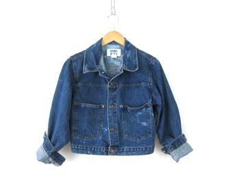 Bleached jean jacket. Dark Denim bleach splatter Coat. 80s button down pocket Hipster Crop jacket. women's size Small