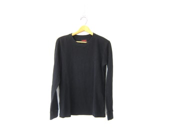 vintage black long sleeve long underwear top minimal look shirt COED Grunge shirt Basic Plain Simple Unisex size Small