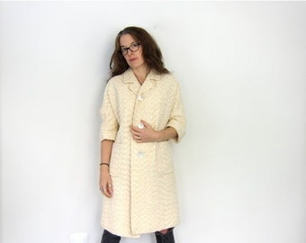 50s Cream Thick Woven Swing Coat Large SEA SHELL Buttons White Textured Peacoat Light Jacket rockabilly Coat Louanne's Vintage Medium