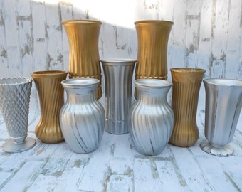 Silver and Gold Vases, Upcycled Vases, Painted Vases, Party Vases, Metallic Vases, Wedding Vases