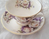 Purple and White Roses Tea Cup and Saucer  Brides Maid Gift only add your own tea bags