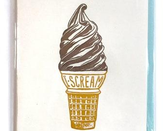 Ice Cream Card, Blank Greeting Card, Letterpress card, I Scream for Ice Cream, soft-serve, single letterpress card, cute blank greeting card